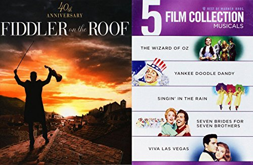6 Best Of Musical DVD Collection - The Wizard of Oz, Singin' In the Rain, Fiddler on the Roof, Seven Brides for Seven Brothers, Yankee Doodle Dandy & Viva Las Vegas DVD Film Set