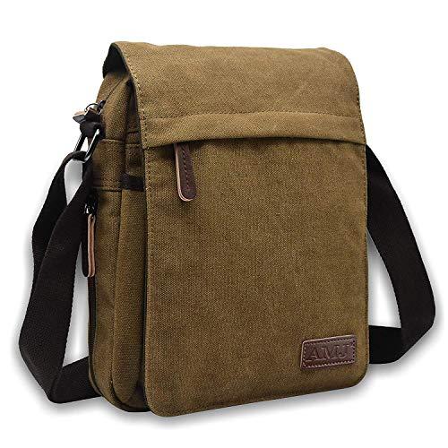 AMJ Canvas Messenger Bag, Sling Bag Crossbody Shoulder Bags for Travel Work Business Men Women, Coffee ()