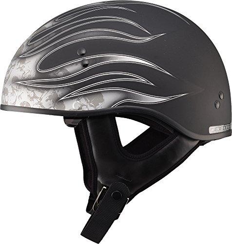 Gmax GM65 Skull Flame Naked Half Helmet (Flat Black/Dark Silver, Large) (Half Flame Helmet Silver)