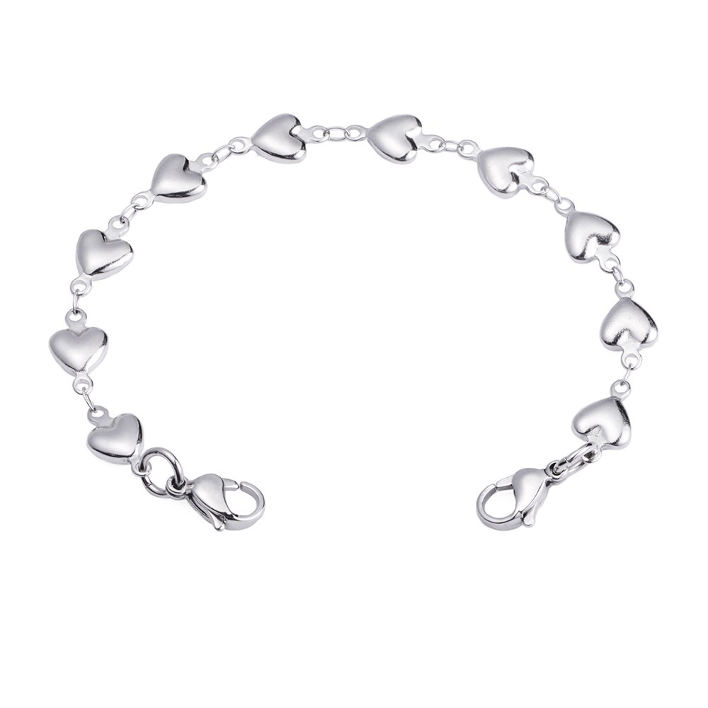 Heart Link Stainless Steel Interchangeable Medical Alert Bracelet (6)