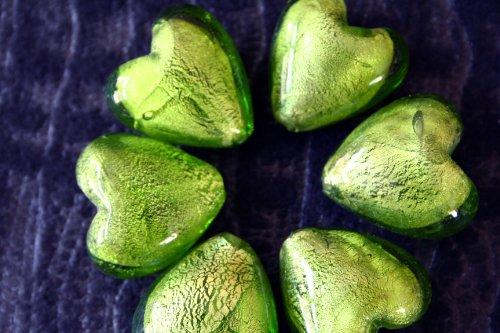 Beads Lampwork Foil Heart Silver - Valentine Big Green Silver Foil Heart Lampwork Glass Beads(6 Beads Pack)