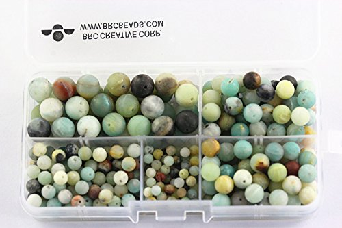 BRCbeads Matte Amazonite Natural Gemstone Loose Beads Round Value Box Set 340pcs Per Box for Jewelry Making (Plastic Container is Included)-4,6,8,10mm