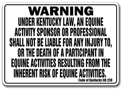 Quote Aluminum Sign Kentucky Equine Sign Activity Liability Warning Statute Horse Farm Barn Stable Metal Gift Sign Wall Plaque Decoration