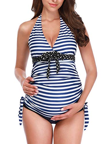 Zando Women Maternity Tankini Striped Two Piece Pregnant Beach Swimwear Plus Size Pregnancy Tankini Swimsuits for Women Halter Maternity Bathing Suits Beachwear 2 Piece Blue Stripe 4X-Large (US - Top Halter Maternity