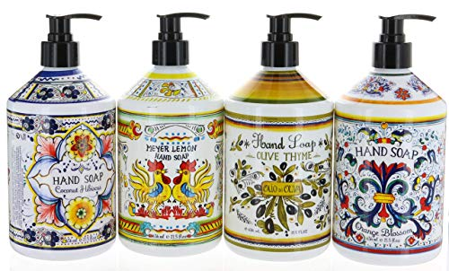 Combo Set 4, Italian Deruta Hand Soap Collection 21.5 FL OZ Each, Orange Blossom, Olive Thyme, Meyer Lemon & Coconut Hibiscus