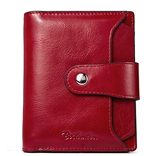 BOSTANTEN Women Leather Wallet RFID Blocking Small Bifold Zipper Pocket Wallet Card Case Purse with ID Window