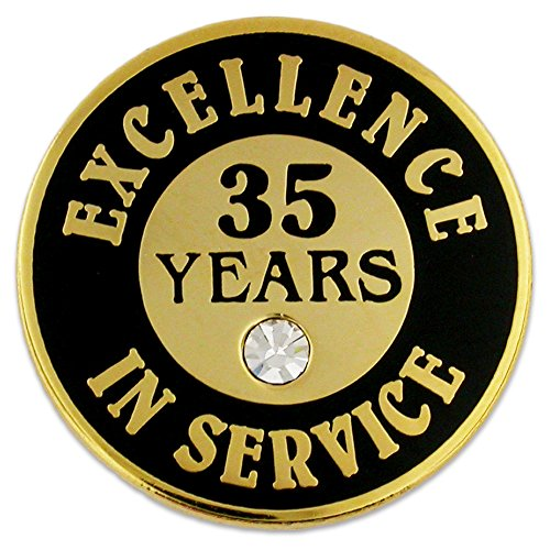 - PinMart's Gold Plated Excellence in Service Enamel Lapel Pin w/ Rhinestone - 35 Years