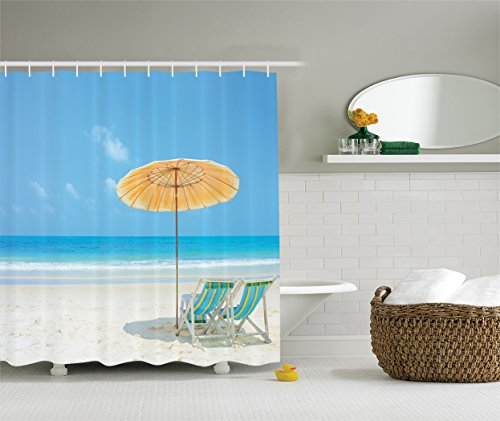 Ambesonne Coastal Decor Collection, Clean Calm Sea and Sunbeds for Couples in Love Relaxation Space in Thailand Photography, Polyester Fabric Bathroom Shower Curtain, 84 Inches Extra Long, Blue Aqua