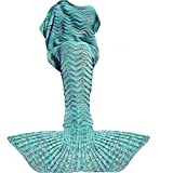 Fu Store Mermaid Tail Blanket Crochet Mermaid Blanket Adult, Super Soft All Seasons Sofa Sleeping Blanket, Cool Birthday Wedding Christmas, 71 x 35 inches, Mint Green