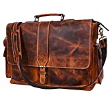 Addey Supply Company 16' Leather Messenger Bag for Laptop Briefcase Bag 16.5X6X12 inch Abyss