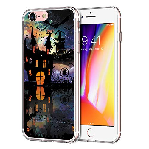 Case Compatible for iPhone 7 Halloween Trick or Treat Ghosts Gothic Skeleton Thriller Pumpkin Lights Design Transparent TPU Silicone Protector Shell Bumper for iPhone 7]()