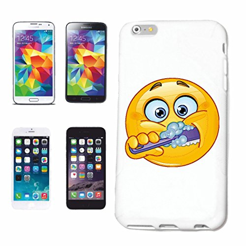 "cas de téléphone iPhone 5C ""SMILEY BRUSHING JUSTE SE DENTS ""sourire EMOTICON APP de SMILEYS SMILIES ANDROID IPHONE EMOTICONS IOS"" Hard Case Cover Téléphone Covers Smart Cover pour Apple iPhone en blan"