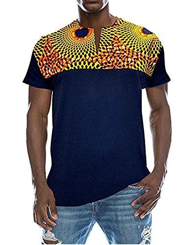 Shele Mens Fashion Short Sleeve African Print Dashiki T-Shirt Tops?Choose One Size up?