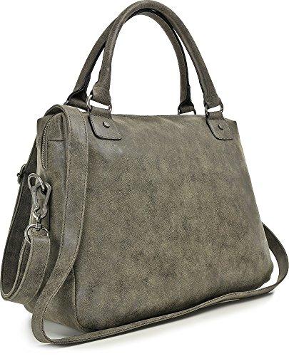 MIYA BLOOM, Damen Handtaschen, Shopper, Henkeltaschen, Umhängetaschen, Aktentaschen, 40 x 30 x 13 cm (B x H x T), Farbe:Anthrazit Anthrazit