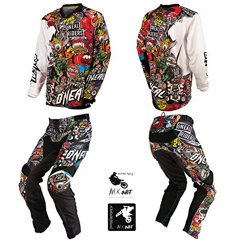 O'Neal Mayhem Crank motocross MX off-road dirt bike Jersey Pants combo riding gear set (Pants W34 / Jersey Large)