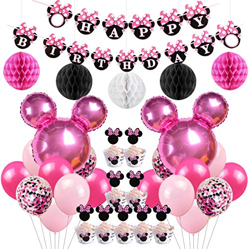 Minnie Mouse Birthday Party Supplies Decorations Minnie Mouse Balloons Cupcake Toppers Wrappers for Girls 1st 2nd 3rd Birthday]()
