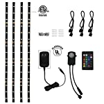 TORCHSTAR LED Multi-color RGB Home Theater TV Backlight Kit, 4pcs of ETL listed LED Waterproof Strip Lights for Monitor, Screen, Background Accent lighting with UL adapter, 24-key Remote and Connectors by TORCHSTAR