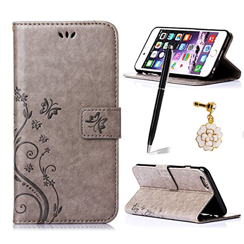 iphone 6 Plus/6S Plus Case,Qidreamcase [Kickstand][Card Slot][Flip][Slim Fit][Flower+Butterfly Pattern] - PU Leather Wallet Case for iphone 6 Plus/6S Plus - Online Take That Stores Debit