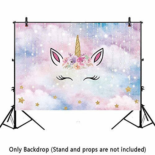 Allenjoy 7x5ft Pink Unicorn Photography Backdrops Golden Horn Glitter Stars Silver Meteor Kids Birthday Photo Background Baby Shower Photography Party Decoration Banner Photographer (Digital Camera Customer Review)