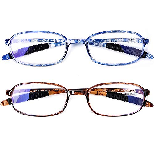 AQWANO 2 Pack Blue Light Blocking Computer Reading Glasses UV Protection Flexible TR90 Frame Lightweight Readers Glasses for Women Men +2.0