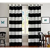 Turquoize Nautical Blackout Curtains(2 PANELS), Room Darkning, Grommet Top, Light Blocking Curtains, 52W by 96L Inch, Wave Stripes Pattern, Black & White, Sold by Pair