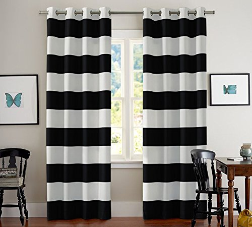 Turquoize Nautical Blackout Curtains(2 PANELS), Room Darkning, Grommet Top, Light Blocking Curtains, 52W by 84L Inch, Wave Stripes Pattern, Black & White, Sold by Pair