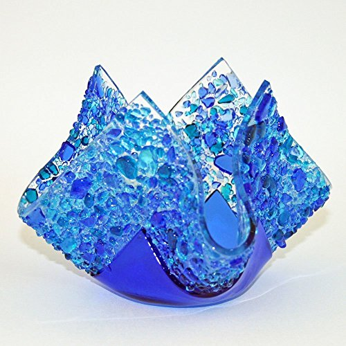 "Glassworks Northwest - Votive ""Ocean"" - Fused Glass Candleholder"