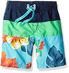 Kanu Surf Toddler Boys\' Koloa Panel Swim Trunk, Aqua, 3T