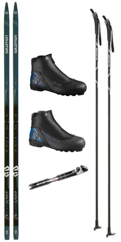 SALOMON Escape 5 Grip Cross Country Ski Package Skis, Boots, Bindings, Poles