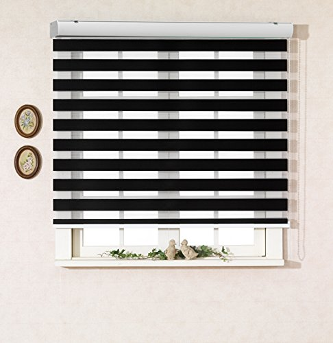 Custom Cut to Size , [Winsharp Basic , black , W 23 x H 64 (Inch)] Horizontal Window Shade Blind Zebra Dual Roller Blinds (Shutter Black Panel)