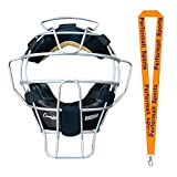 Champion Sports Ultra Lightweight Umpire Face Mask Black with 1 Performall Lanyard BM300SL-1P