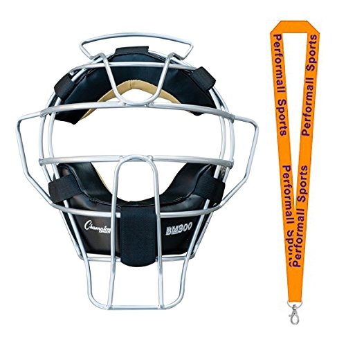 Champion Sports Ultra Lightweight Umpire Face Mask Black Bundle with 1 Performall Lanyard BM300SL-1P by Champion Sports
