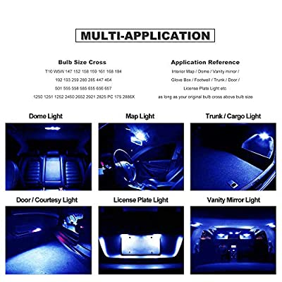 DODOFUN T10 Deep Blue Car Interior Exterior Replacement Bulb Map Dome Door Trunk Cargo License Plate LED Light 168 175 194 2825 W5W Size (Pack of 10): Automotive