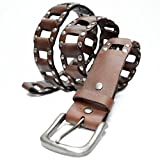 AK6037-BRN - Toneka Men's Casual Steampunk Studded Brown Full grain Leather Link Belt (38(fits 36'' waist))