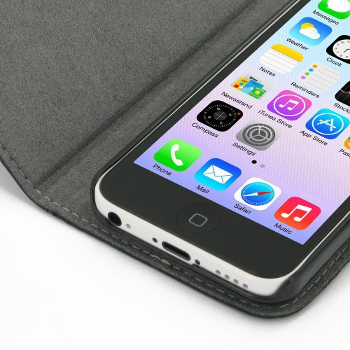 Apple iPhone 5c Ultra Thin Leather Case / Cover (Handmade Genuine Leather) - Book Type (Black) by Pdair
