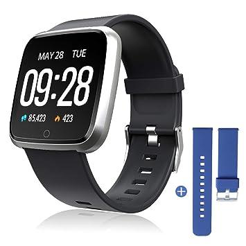 ZKCREATION Smartwatch, Reloj Inteligente Pulsera Actividad con Pulsómetro Podómetro Calorie Monitoreo del sueño Impermeable Relojes Inteligentes para ...