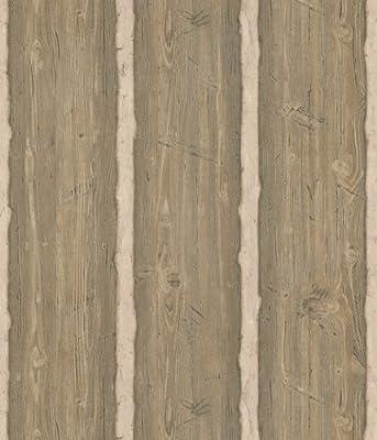 Brewster Northwoods Lodge Hewn Log Wallpaper