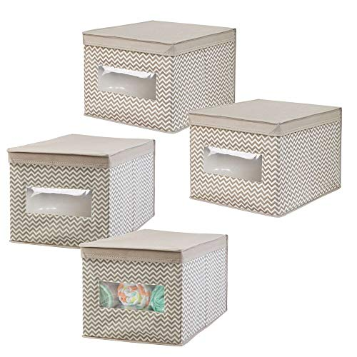 mDesign Decorative Stackable Fabric Closet Storage Organizer Holder Box - Clear Window, Lid, for Child/Kids Room, Nursery - Large, Collapsible Foldable - Chevron Zig-Zag Print, 4 Pack - Taupe/Natural