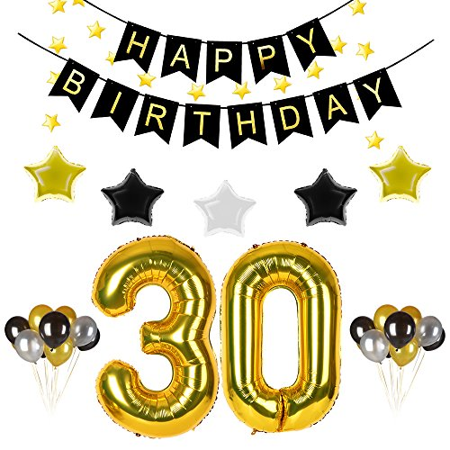 30th Birthday Party Decorations Kit Gold Black Happy Birthday Banner,30th Gold Number Balloons,Gold Black Silver Stars,30PCS Gold Black Silver Balloons,Total 39PCS (30th Birthday Party)