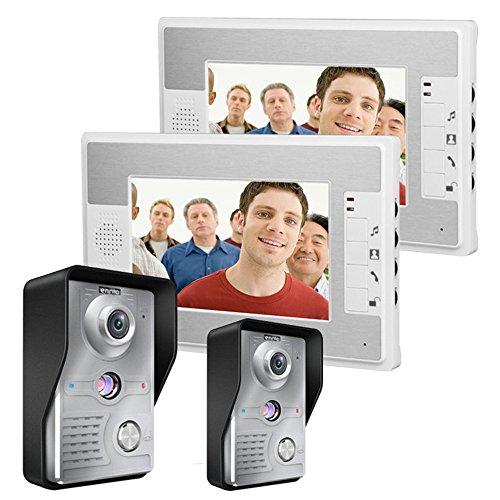 7 Inch Video Door Phone Doorbell Intercom Kit 2-camera 2-monitor Night Vision - MOUNTAINONE SY812MKW22