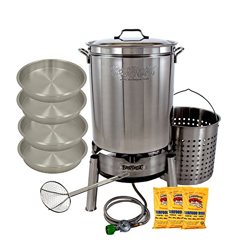 Crawfish Cooker Crayfish Complete Cooker Kit 62 Quart Everything Needed in Top Quality Stainless Steel To Cook A 15 lb Bag Simply Add the Crawfish, Corn, Potatoes, and People (Crawfish Cooker)