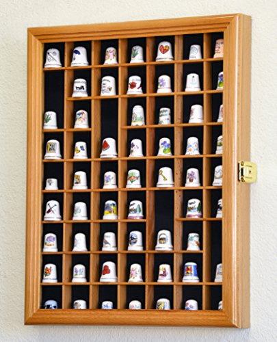 59-Opening Thimble Small Miniature Display Case Cabinet Rack Holder -Oak Finish