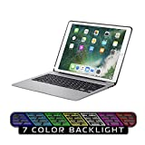 Keyboard Case for iPad Pro 12.9,7 Colors Backlight Slim Aluminum Wireless Keyboard with Protective Translucent Silicone Keyboard Cover and 5600 mAh Power Bank for iPad Pro 12.9 inch(12.9 Space Grey)