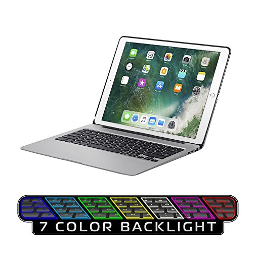 Keyboard Case for iPad Pro 12.9,7 Colors Backlight Slim Aluminum Wireless Keyboard with Protective Translucent Silicone Keyboard Cover and 5600 mAh Power Bank for iPad Pro 12.9 inch(12.9 Space Grey) by KINGZE