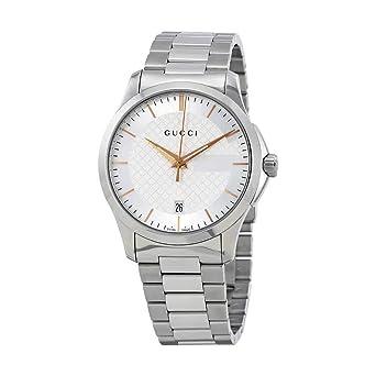 2fb5d02b46e7c Gucci Men s Silver Dial Metal Band Watch - YA126442  Amazon.ae ...