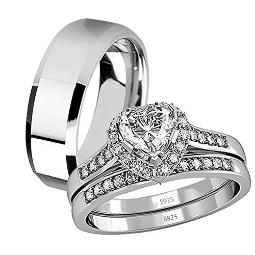 His Hers 3 Pcs Stainless Steel Matching Band Women Heart Cut Sterling Silver Wedding Engagement Ring Set by Devuggo
