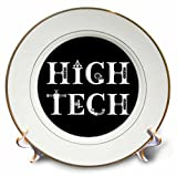 3dRose Alexis Design - Mechanical Engineering - High Tech elegant decorative text on black background - 8 inch Porcelain Plate (cp_286077_1)