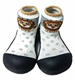 Attipas Best First Walker Shoes Baby Cotton Socks Shoes Non Toxic Safe Great Baby Registry Gifts (US Toddler 5.5, Zoo Black)