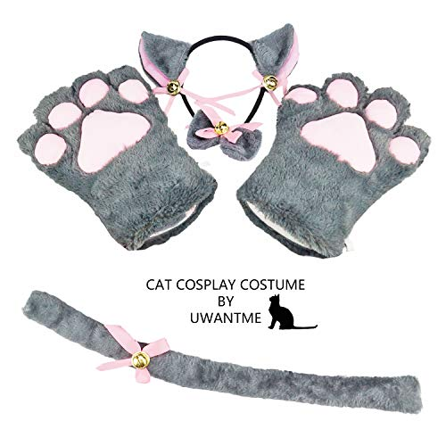 Cat Cosplay Costume Kitten Tail Ears Collar Paws Gloves Anime Lolita Gothic Set Grey]()