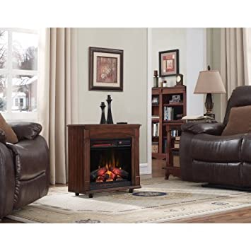 Amazon.com: Rolling Mantel with Infrared Quartz Electric Fireplace ...